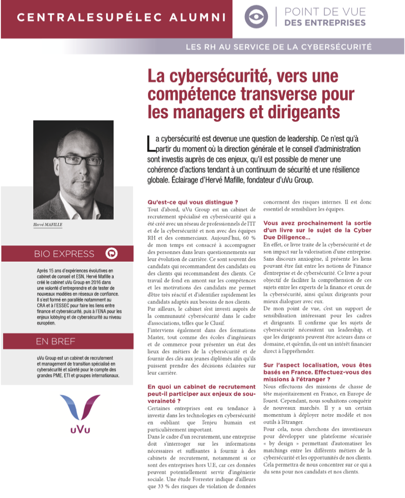 La Cybersécurité, vers une compétence transverse pour les managers et dirigeants